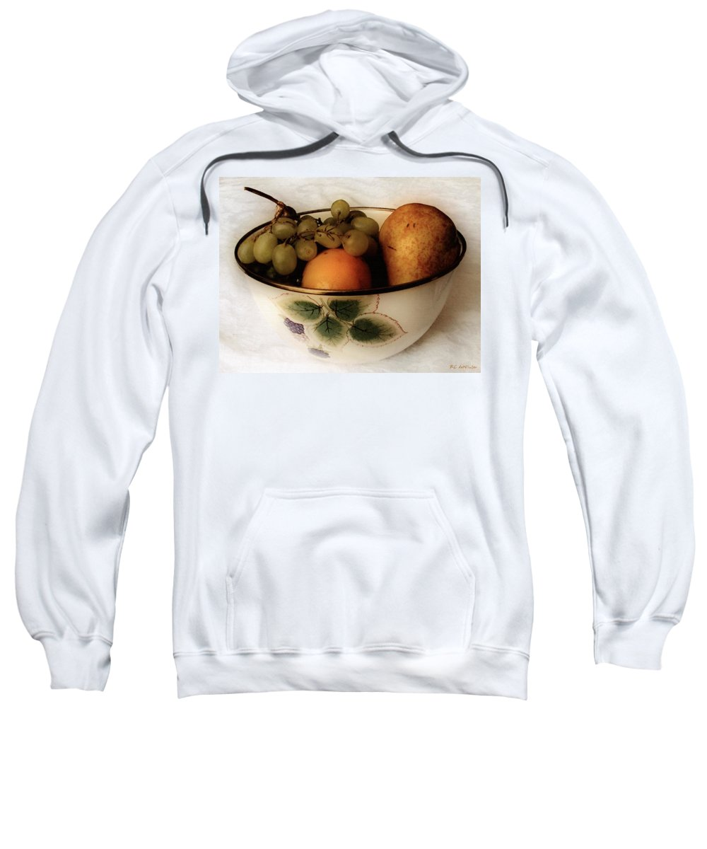 Bowl Sweatshirt featuring the painting Fruitbowl Retro by RC DeWinter