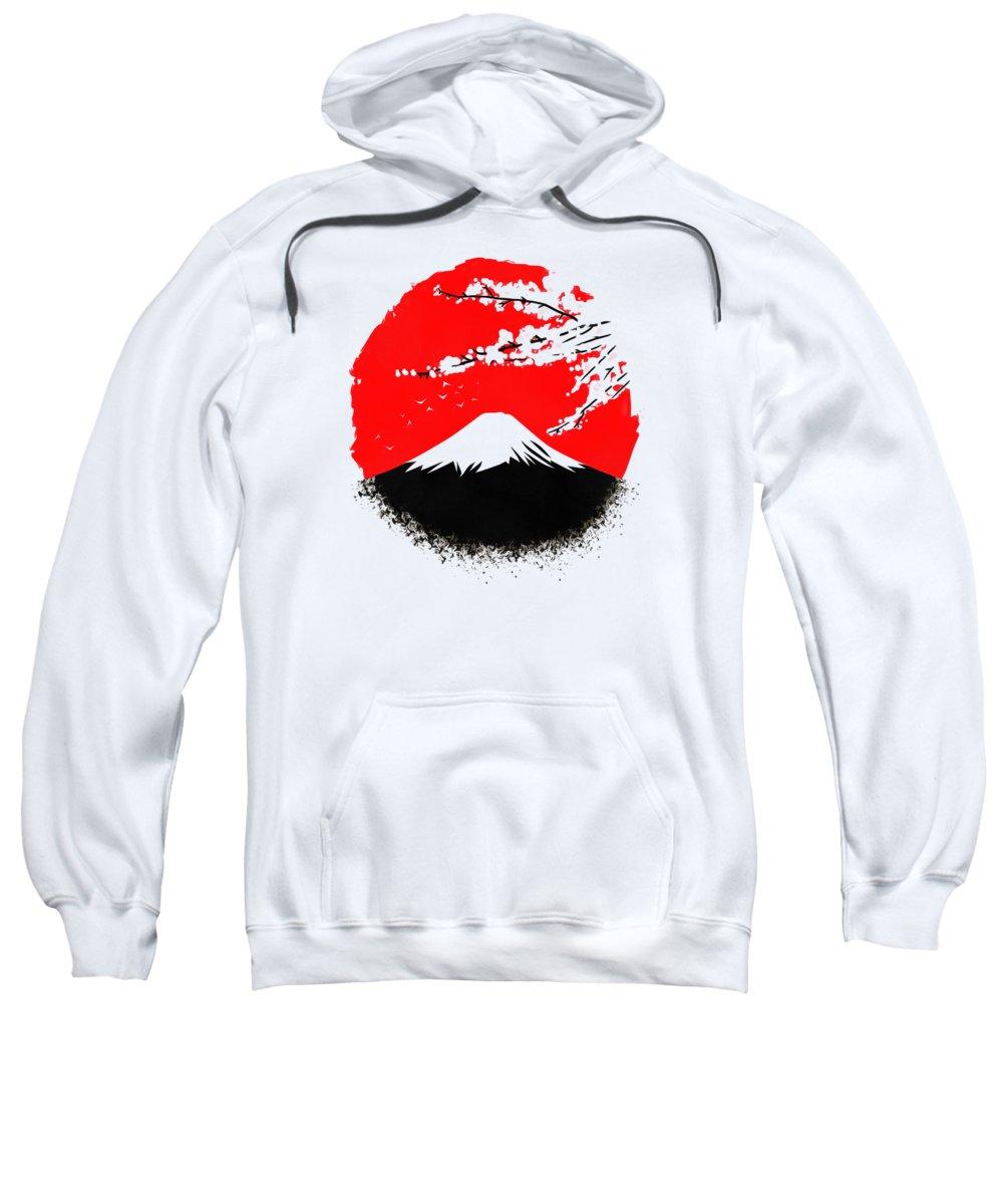 Mountain Sweatshirt featuring the digital art Fujiyama by Dewi Ranjang