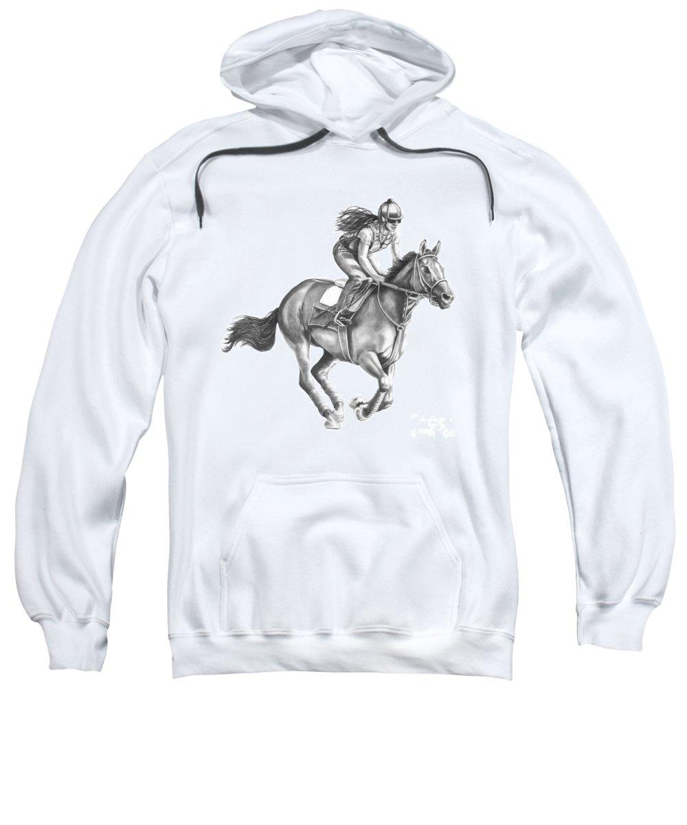Horse Sweatshirt featuring the drawing Full Gallop by Murphy Elliott