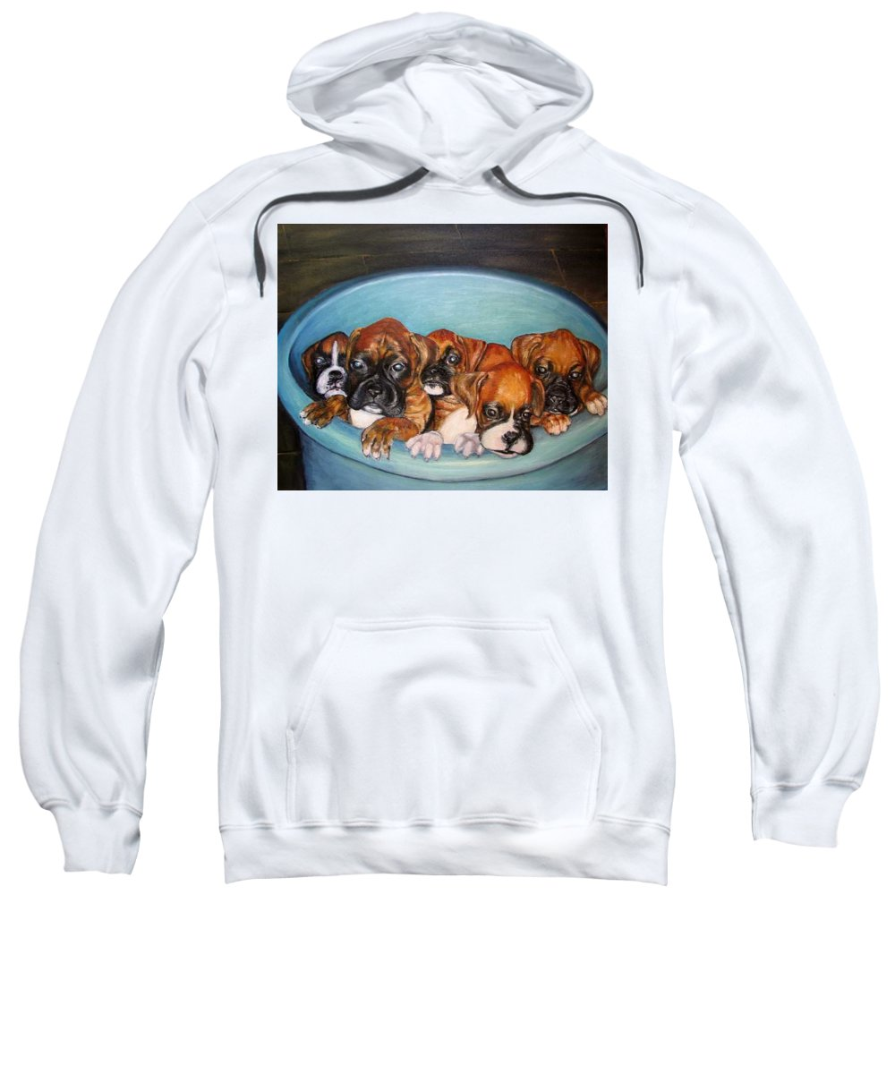 Oil Sweatshirt featuring the painting Funny Puppies Orginal Oil Painting by Natalja Picugina