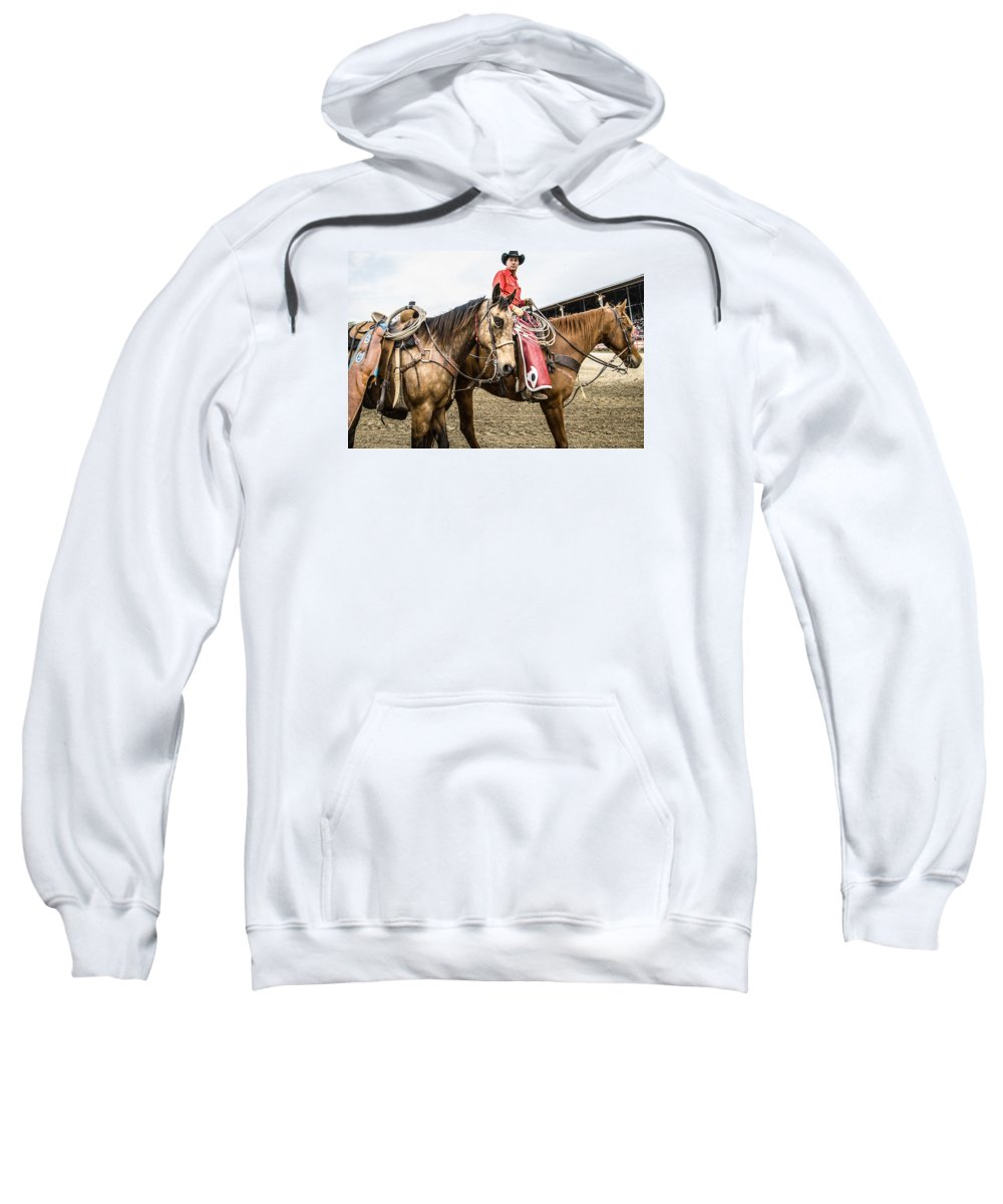 Orange & Blue Rodeo Sweatshirt featuring the photograph G by Terry Brown