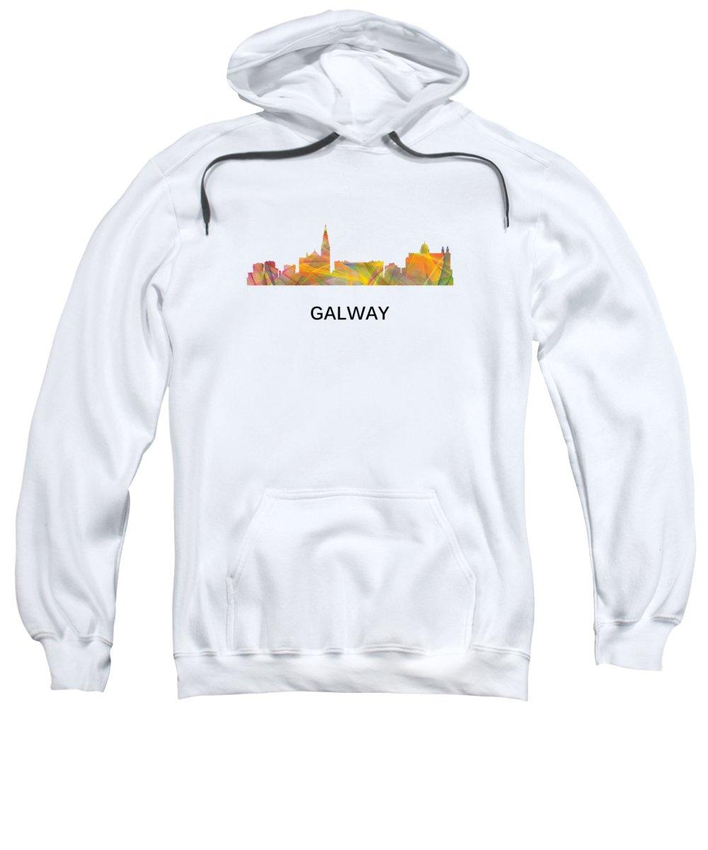 Galway Ireland Skyline Sweatshirt featuring the digital art Galway Ireland Skyline by Marlene Watson
