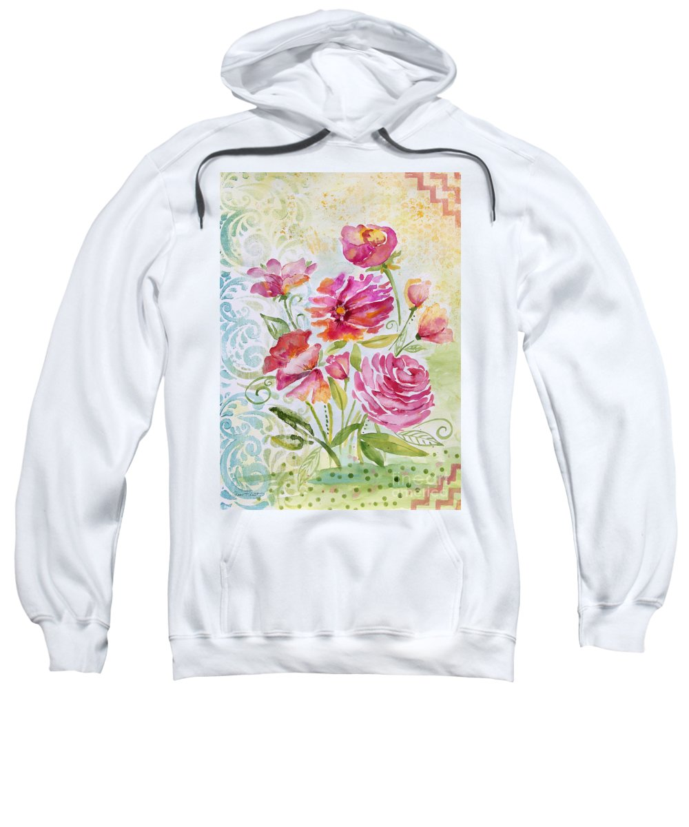 Watercolor Painting Sweatshirt featuring the painting Garden Beauty-jp2957 by Jean Plout