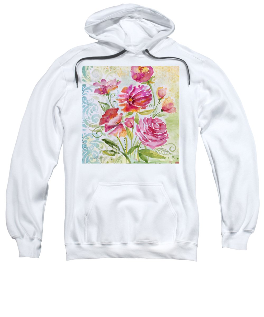 Watercolor Painting Sweatshirt featuring the painting Garden Beauty-jp2957b by Jean Plout