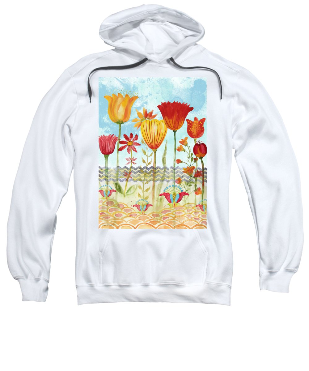 Watercolor Painting Sweatshirt featuring the painting Garden Beauty-jp2960 by Jean Plout