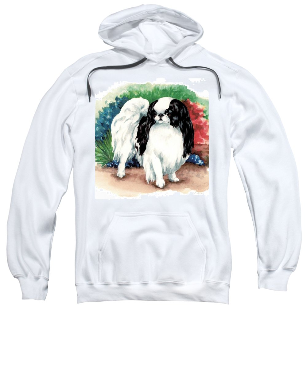 Japanese Chin Sweatshirt featuring the painting Garden Chin by Kathleen Sepulveda