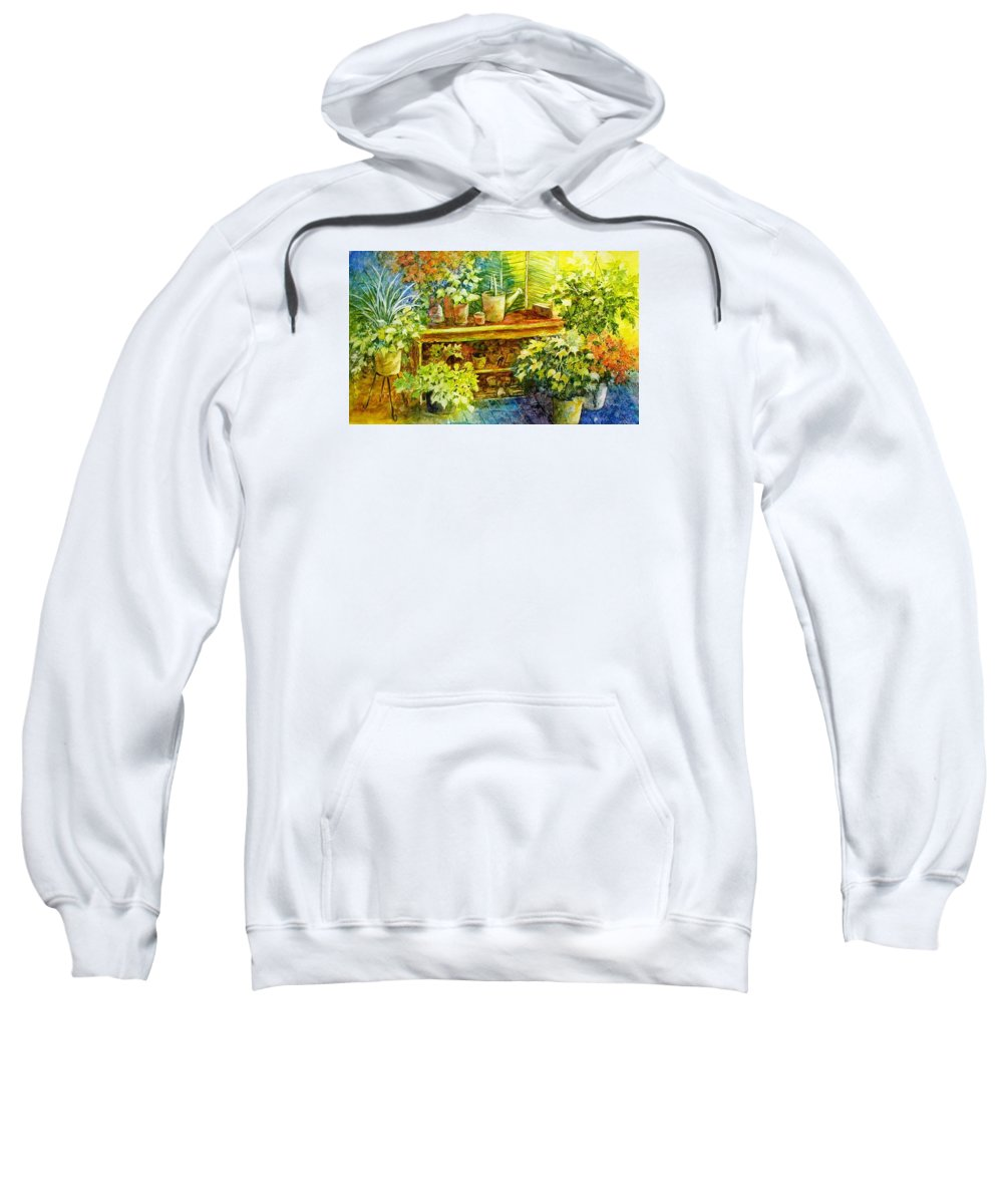 Greenhouse;plants;flowers;gardener;workbench;sprinkling Can;contemporary Sweatshirt featuring the painting Gardener's Joy by Lois Mountz