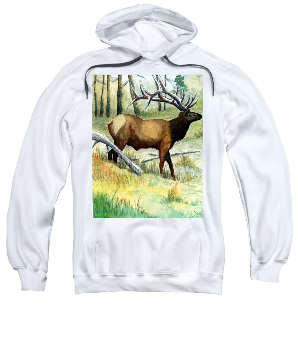 Wildlife Sweatshirt featuring the painting Gash Flats Bull by Jimmy Smith