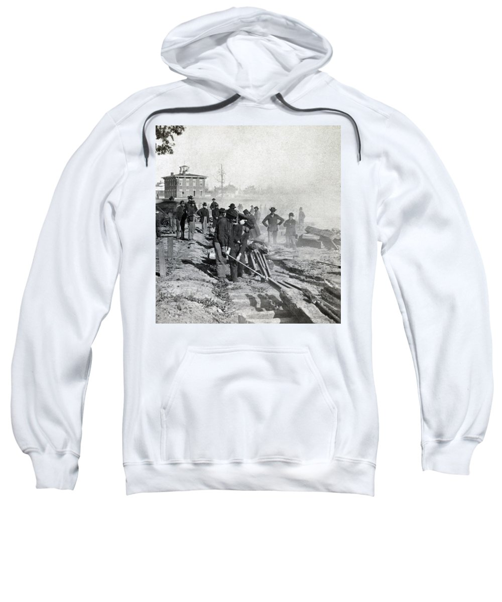civil War Sweatshirt featuring the photograph Gen Shermans Troops Destroying Railroad Before The Evacuation Of Atlanta - C 1864 by International Images