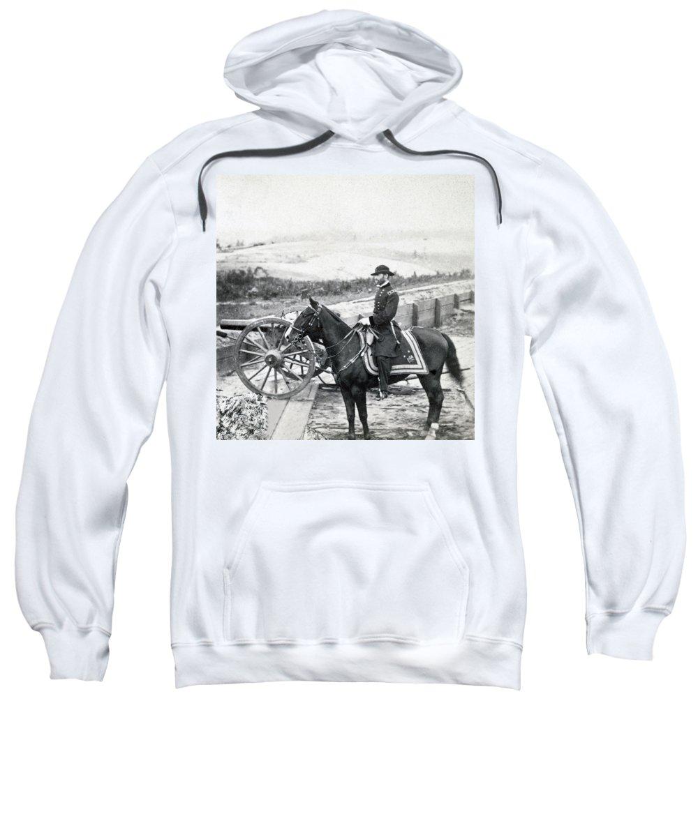 civil War Sweatshirt featuring the photograph General William T Sherman On Horseback - C 1864 by International Images