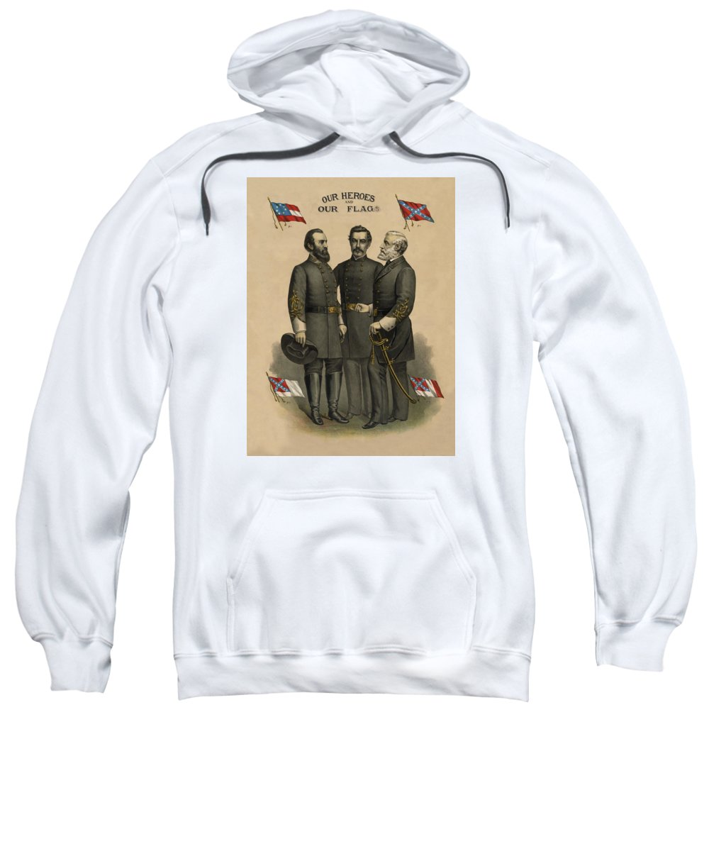 Confederate Sweatshirt featuring the painting Generals Jackson Beauregard And Lee by War Is Hell Store