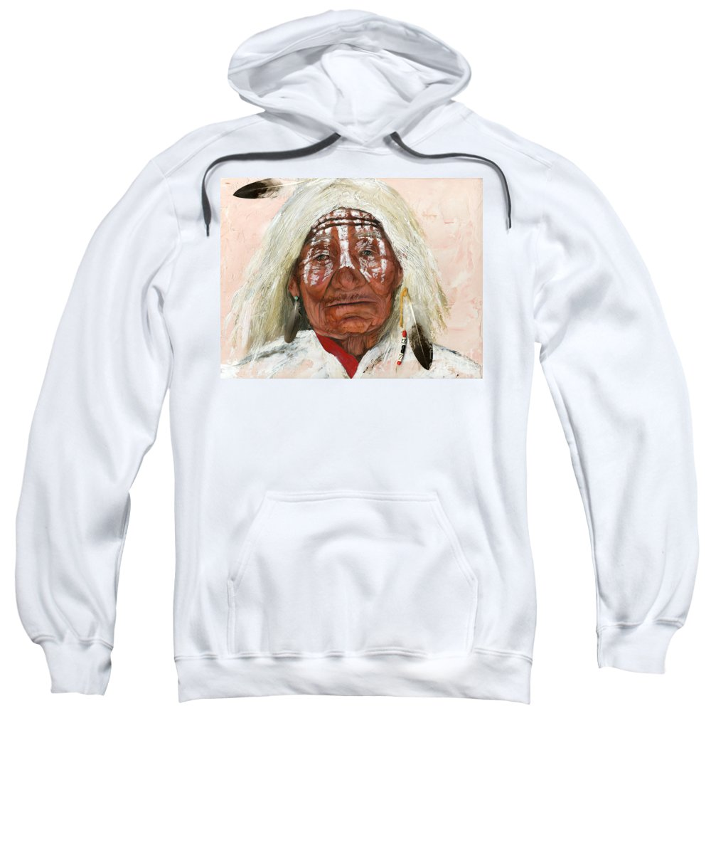 Southwest Art Sweatshirt featuring the painting Ghost Shaman by J W Baker