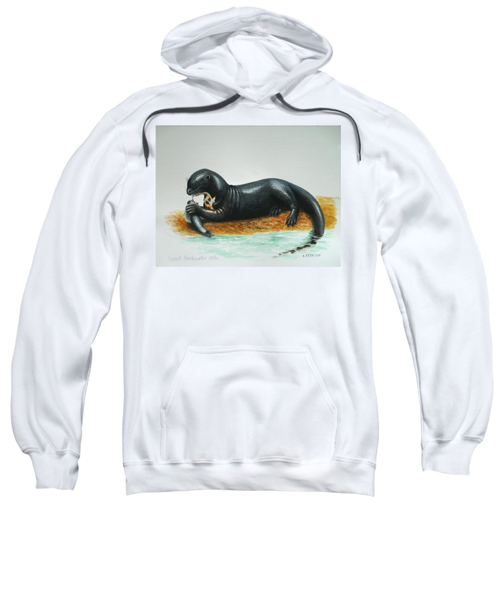 Giant River Otter Sweatshirt featuring the painting Giant River Otter by Christopher Cox