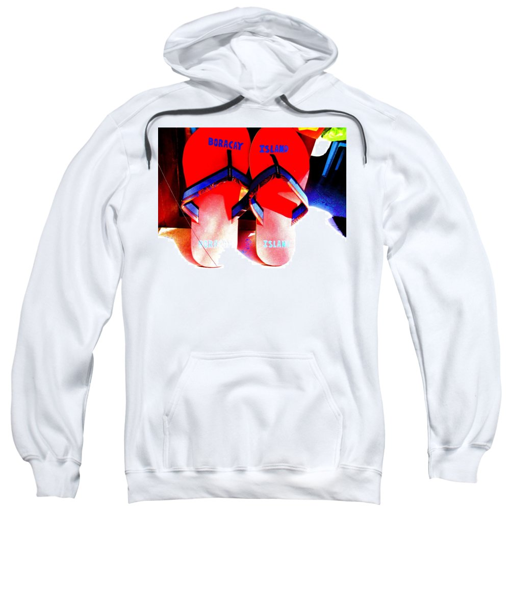Beach Sweatshirt featuring the photograph Giant Slippers by Sarah Scherf