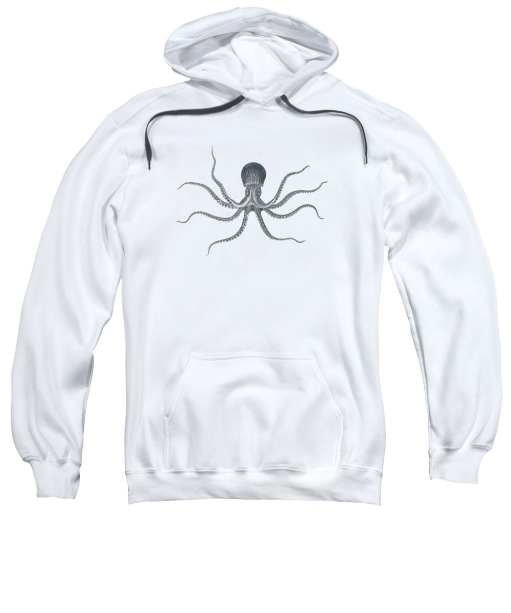 Giant Squid Sweatshirt featuring the drawing Giant Squid - Nautical Design by World Art Prints And Designs