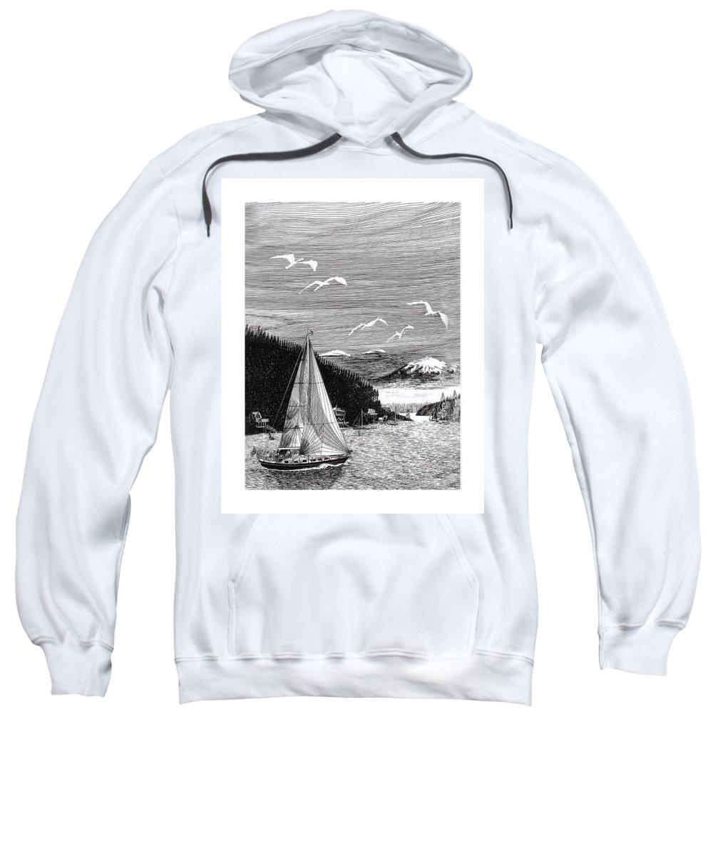 Yacht Portraits Sweatshirt featuring the drawing Gig Harbor Sailing School by Jack Pumphrey