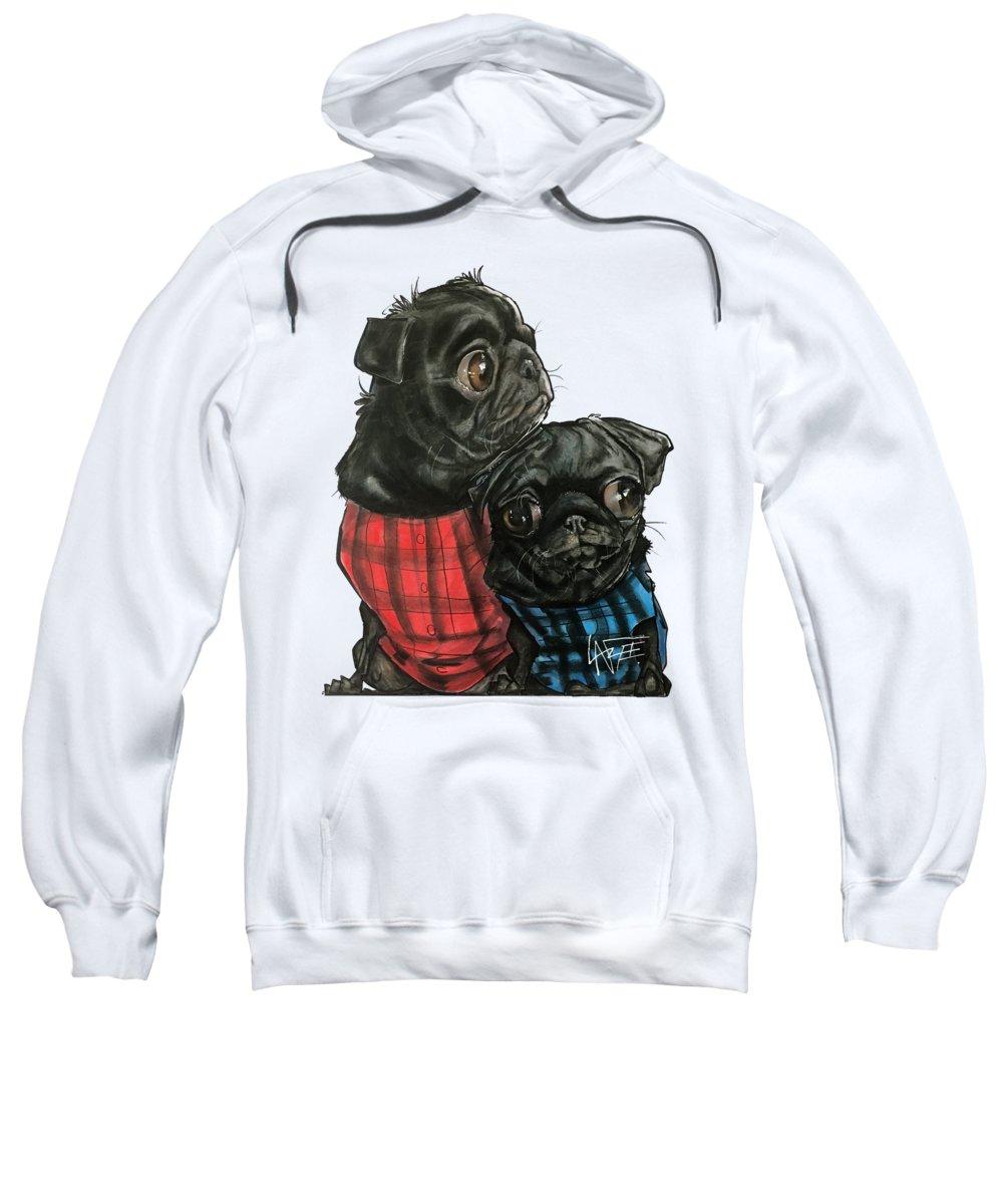 Pet Portrait Sweatshirt featuring the drawing Giles 3540 by John LaFree