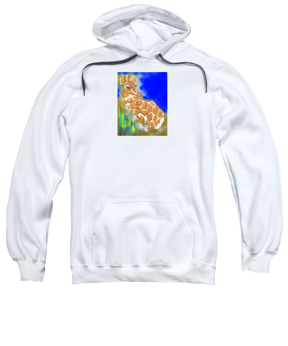 Impressionist Painting Sweatshirt featuring the painting Giraffe by J R Seymour