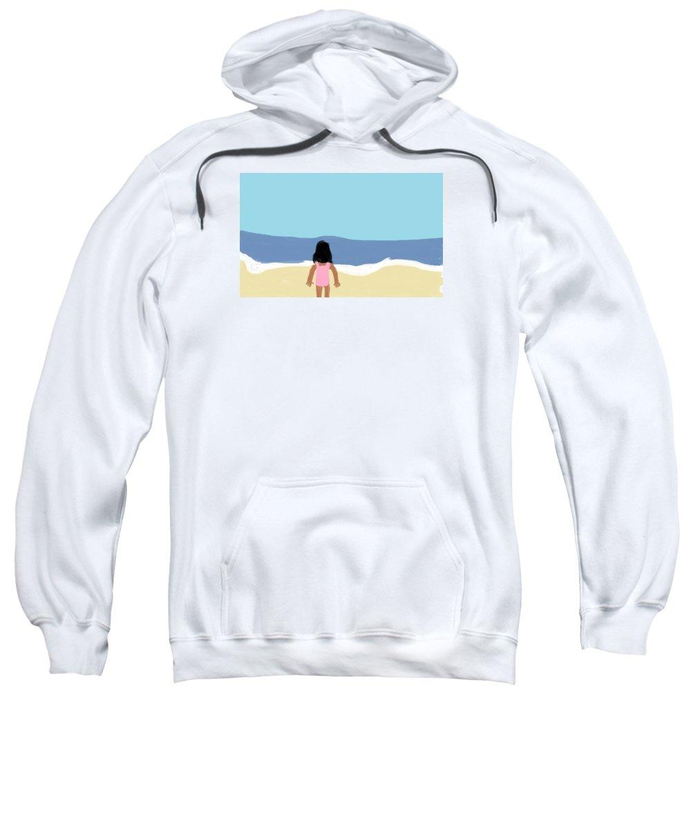 Children Sweatshirt featuring the digital art Girl On The Beach by Arianna