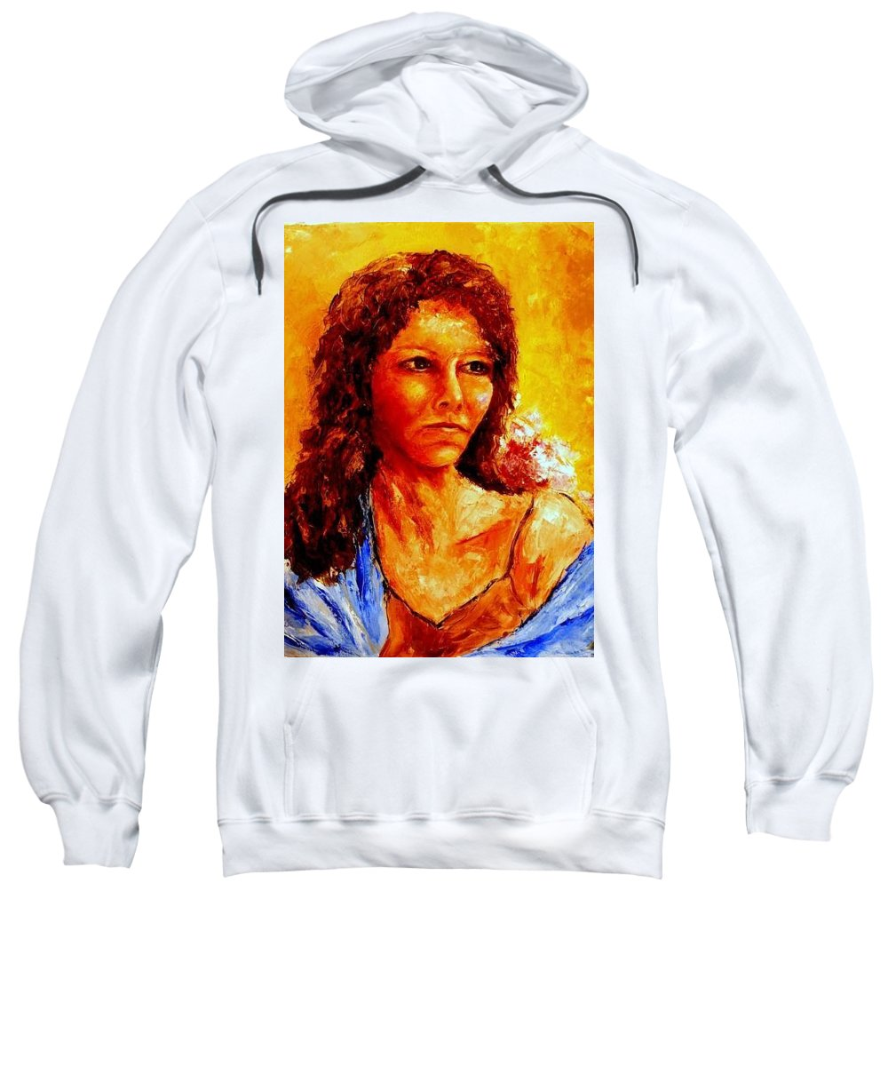 Woman Sweatshirt featuring the painting Girl With Blue Shawl by Shuly Haimsohn Weiner