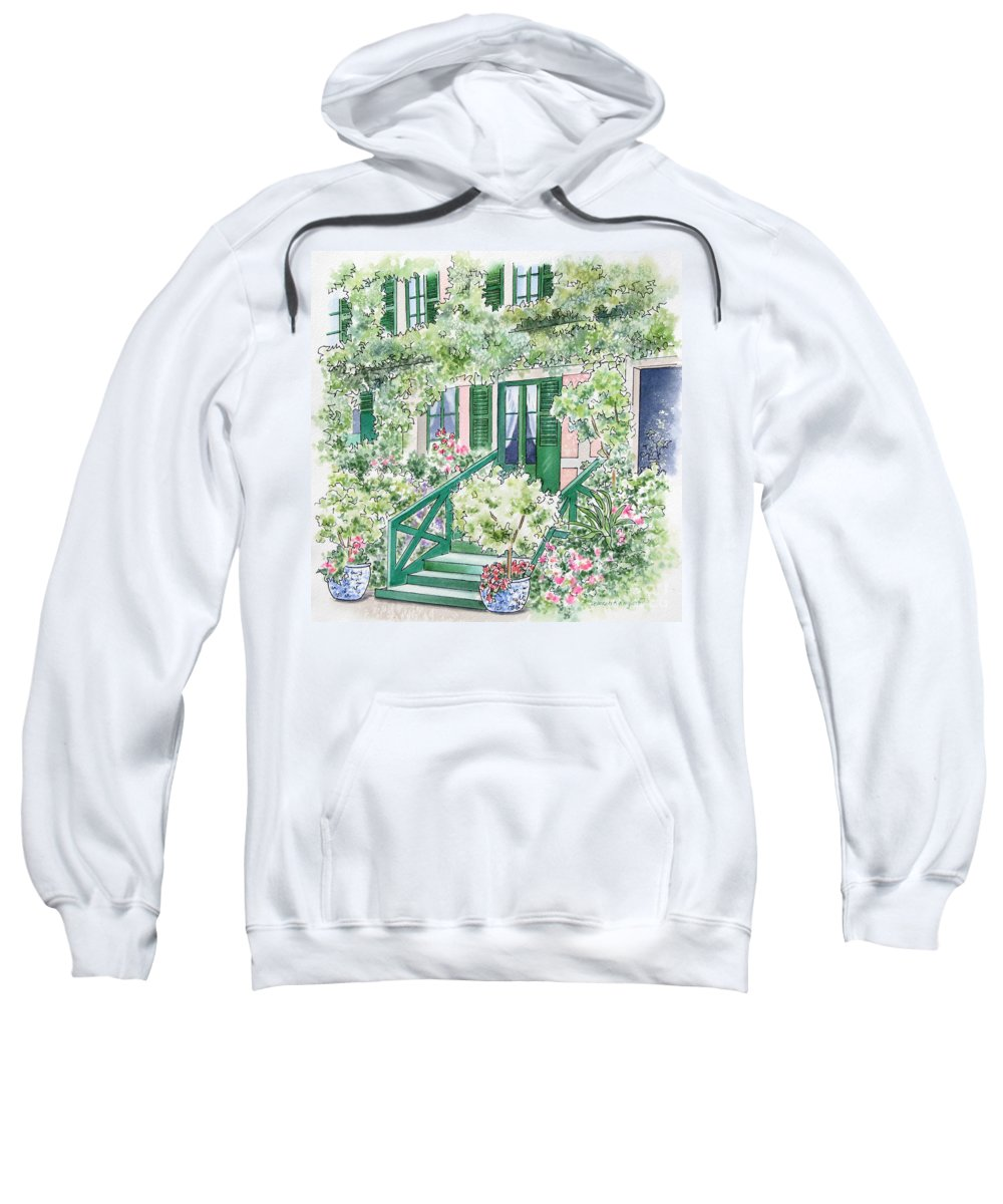 Giverny Sweatshirt featuring the painting Giverny Welcome by Deborah Ronglien