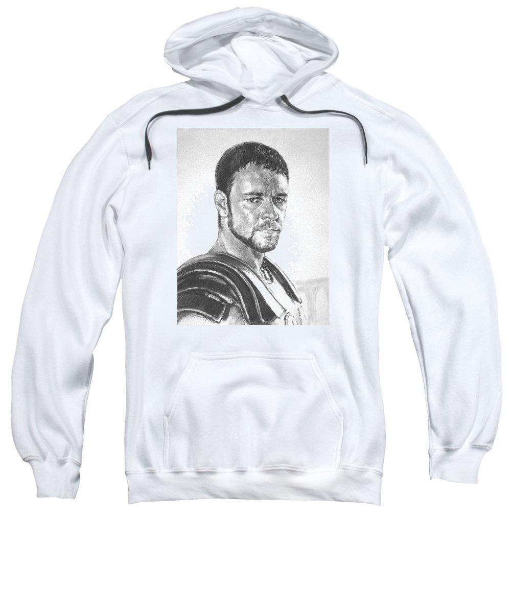 Portraits Sweatshirt featuring the drawing Gladiator by Iliyan Bozhanov