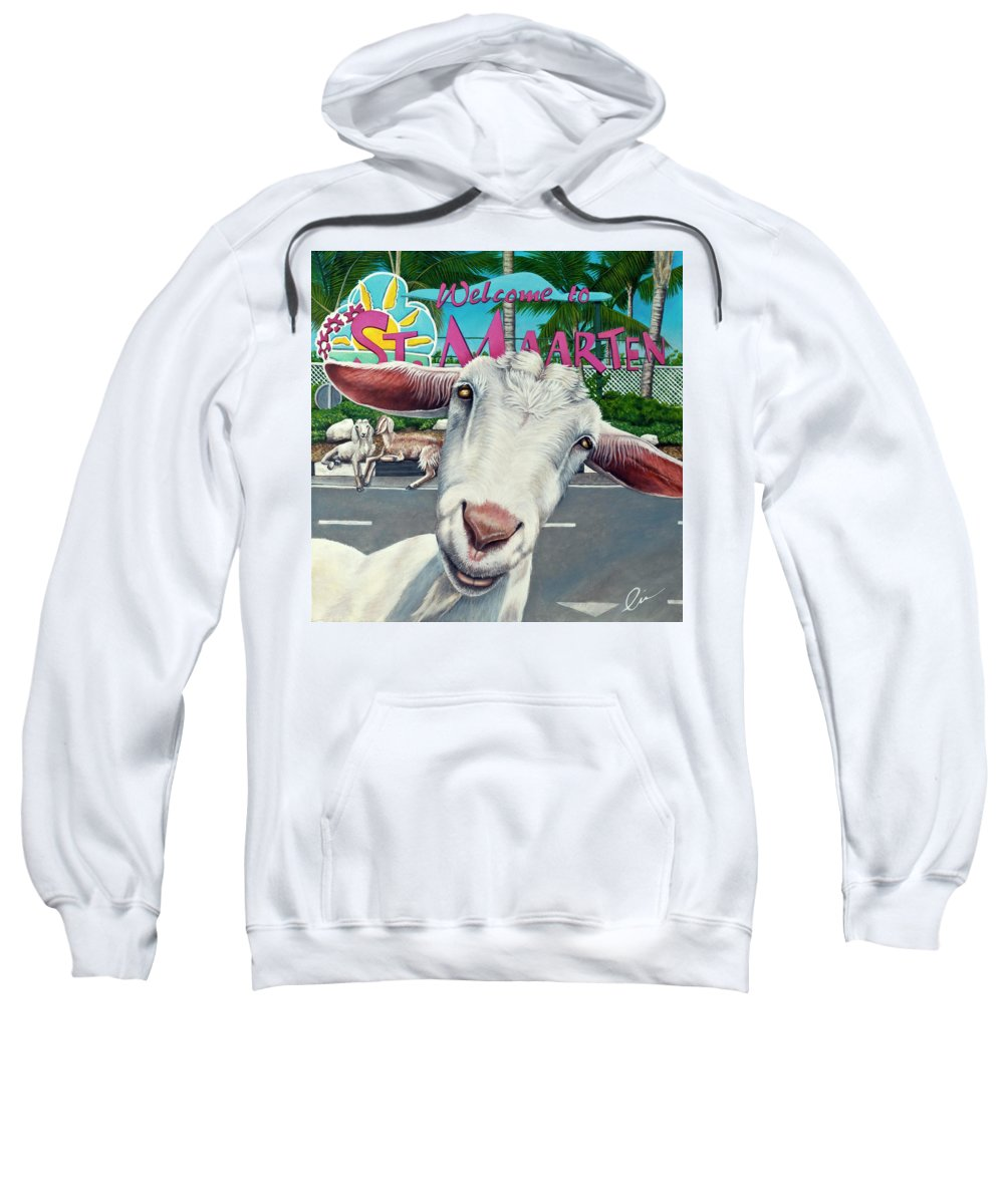 Goat Sweatshirt featuring the painting Goats Of St. Maarten- Sofie by Cindy D Chinn
