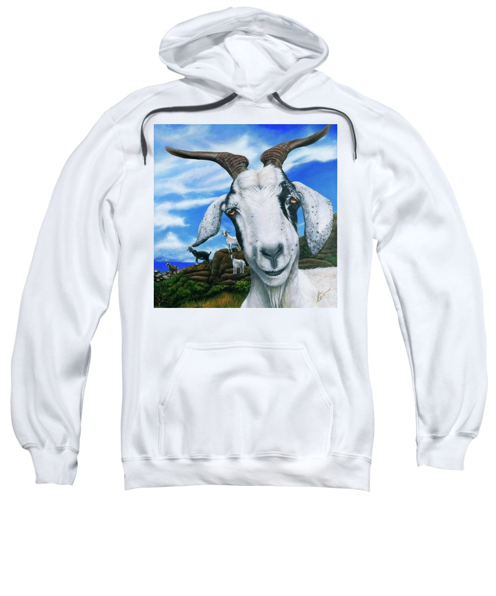St. Martin Sweatshirt featuring the painting Goats Of St. Martin by Cindy D Chinn