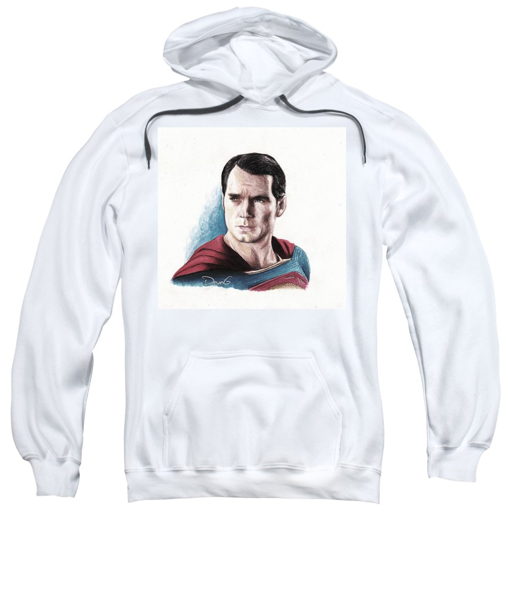 Man Of Steel Sweatshirt featuring the drawing God Or Alien by DevinG