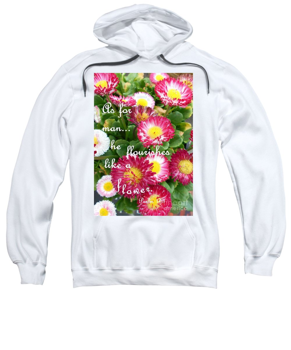 Psalm Sweatshirt featuring the mixed media God's Promise by Eloise Schneider Mote