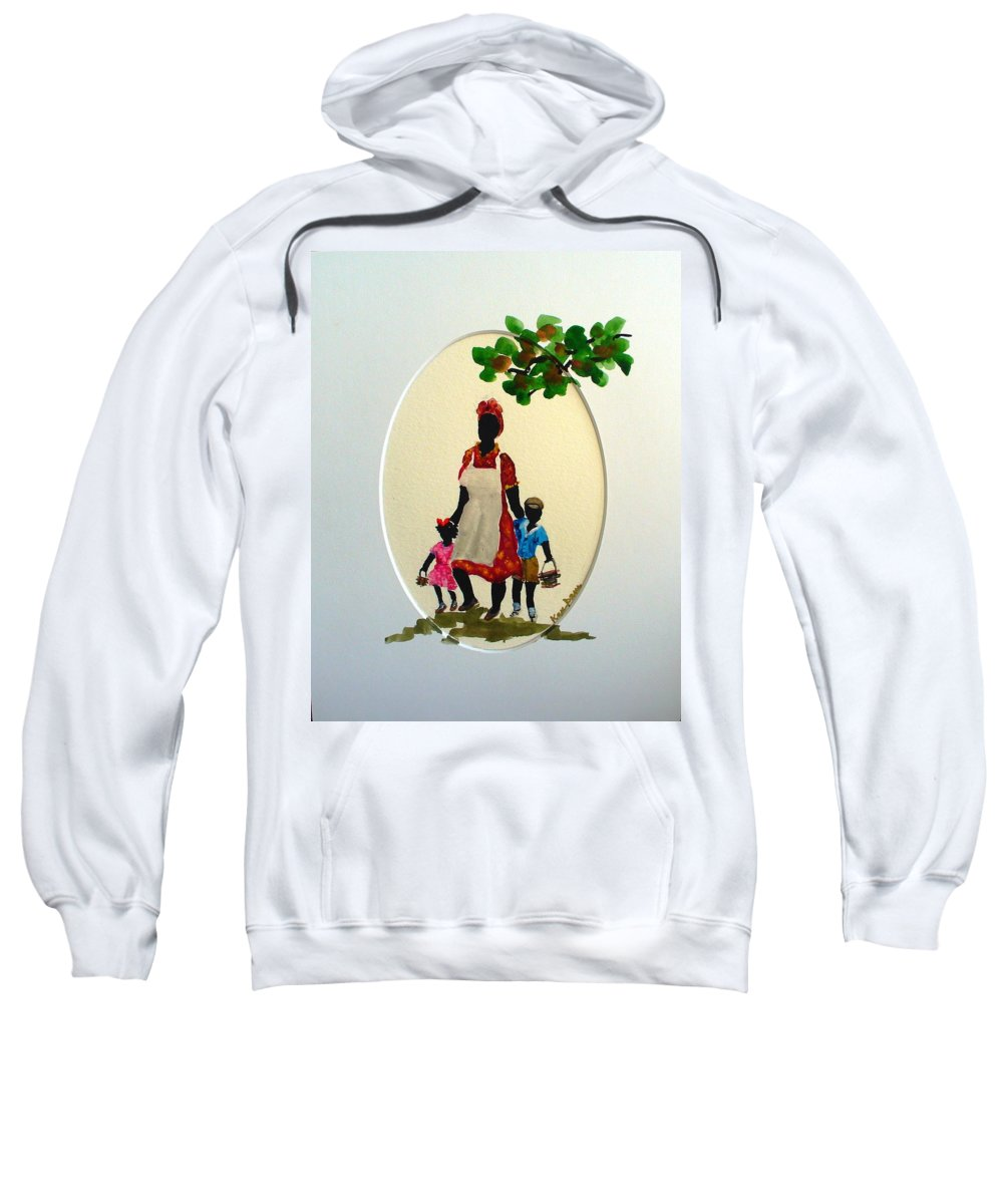 Caribbean Children Sweatshirt featuring the painting Going To School by Karin Dawn Kelshall- Best