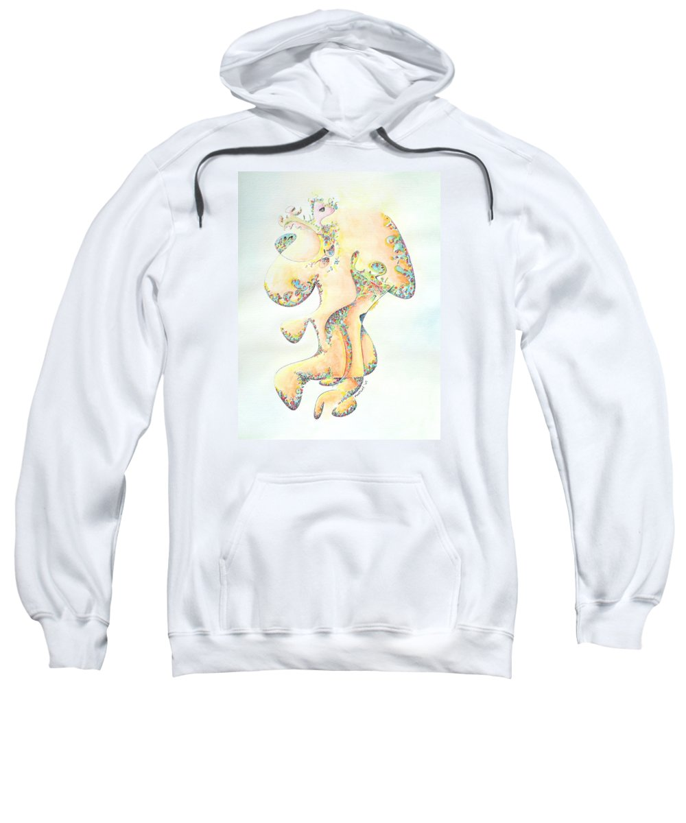 Figure Sweatshirt featuring the painting Gold Bejeweled Fertility Goddess by Dave Martsolf
