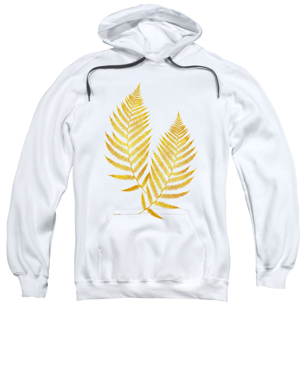Fern Leaves Sweatshirt featuring the mixed media Gold Fern Leaf Art by Christina Rollo