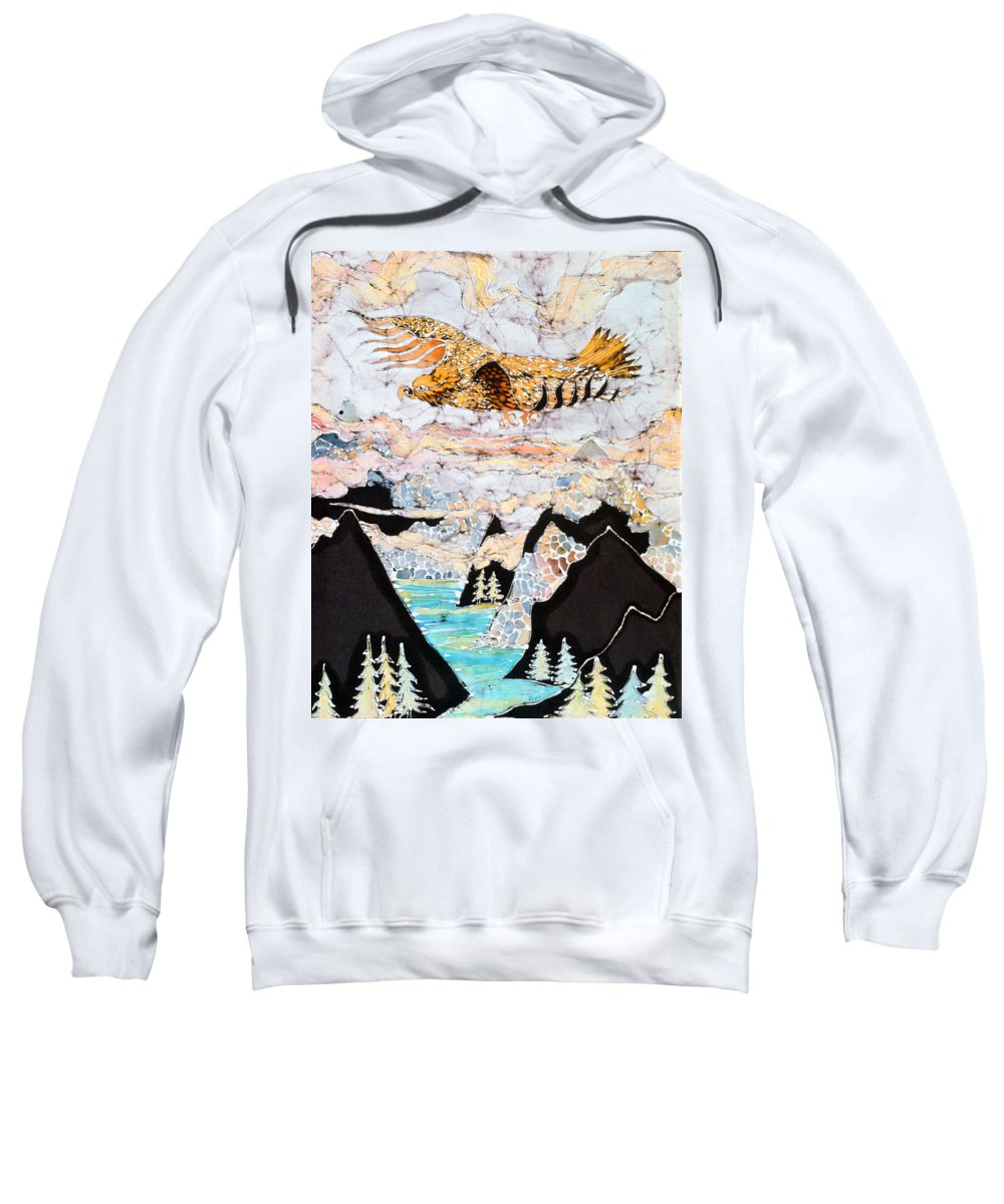 Golden Sweatshirt featuring the tapestry - textile Golden Eagle Flies Above Clouds And Mountains by Carol Law Conklin