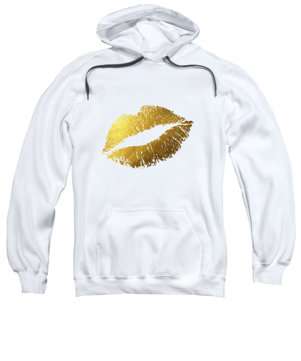 Golden Girl Sweatshirt featuring the mixed media Gold Lips by BONB Creative