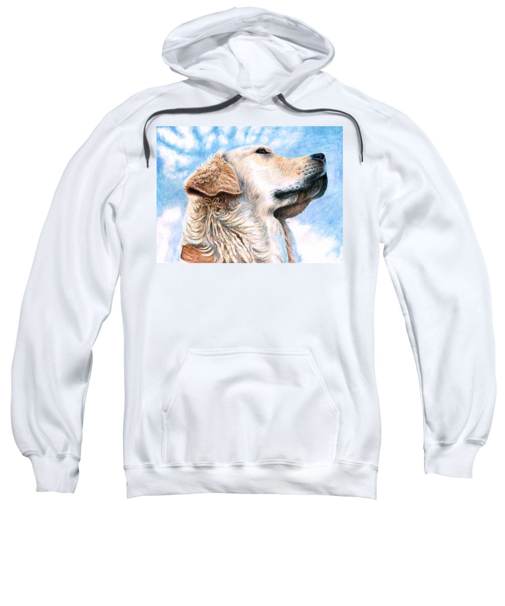 Dog Sweatshirt featuring the painting Golden Retriever by Nicole Zeug