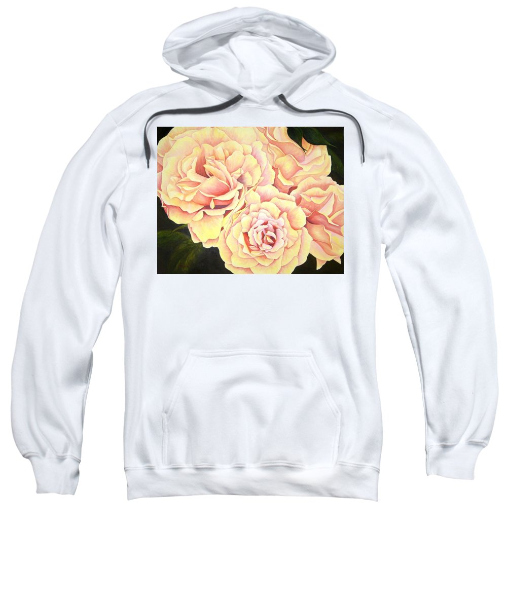 Roses Sweatshirt featuring the painting Golden Roses by Rowena Finn
