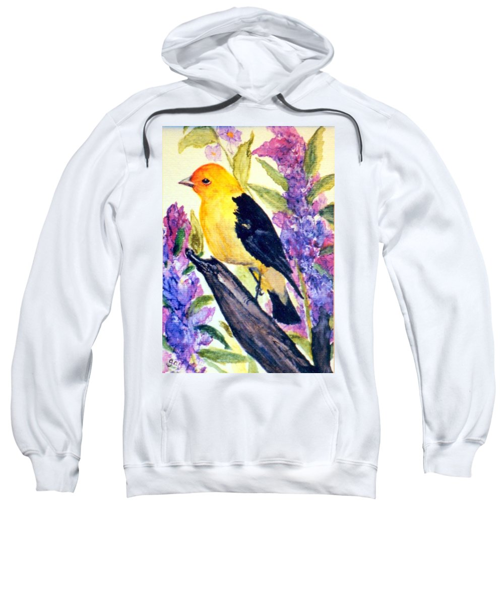 Birds Sweatshirt featuring the painting Goldfinch by Gail Kirtz