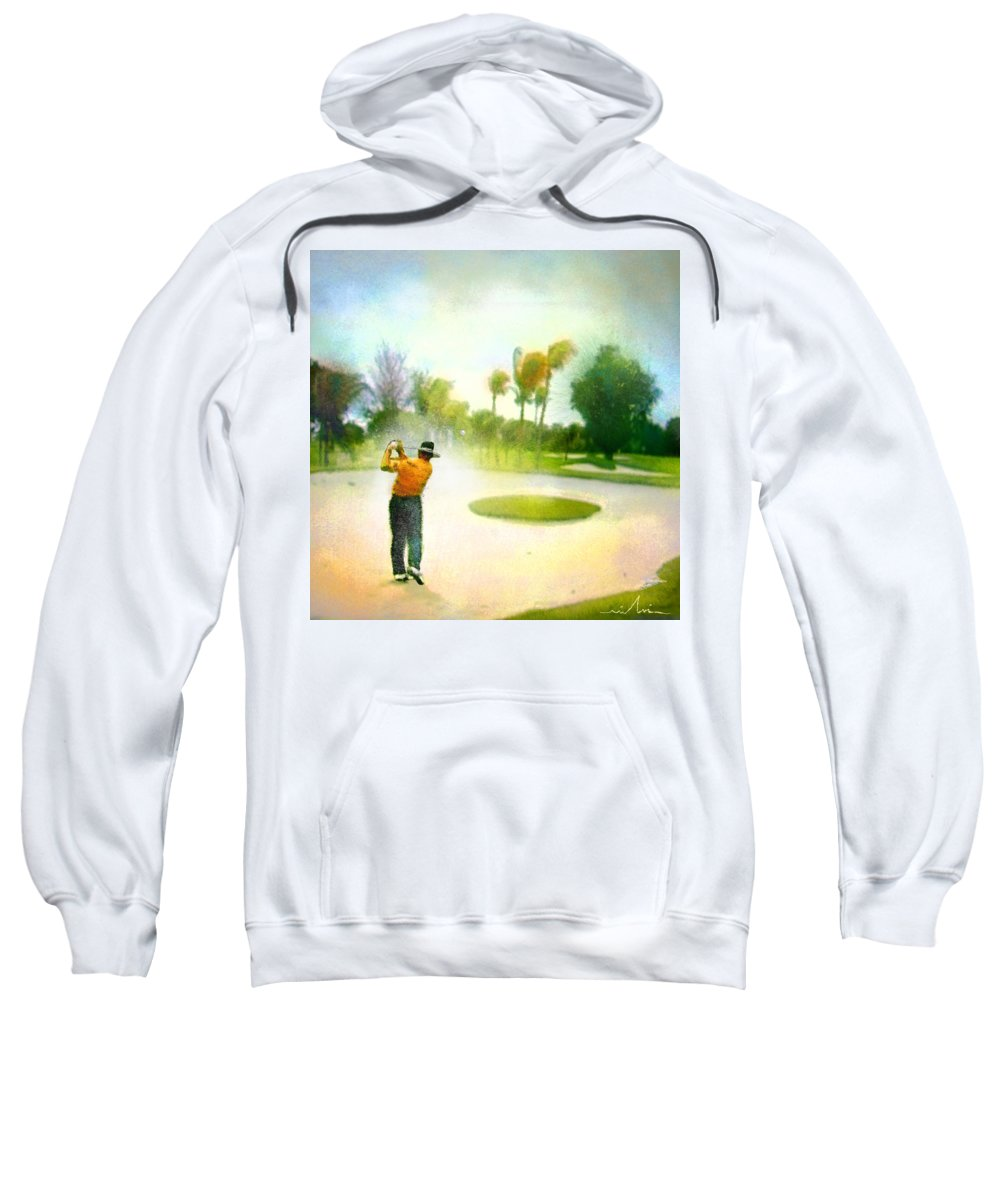 Golf Sweatshirt featuring the painting Golf At The Blue Monster In Doral Florida 02 by Miki De Goodaboom