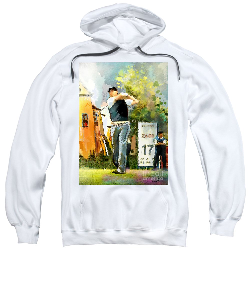 Golf Sweatshirt featuring the painting Golf In Club Fontana Austria 01 Dyptic Part 01 by Miki De Goodaboom