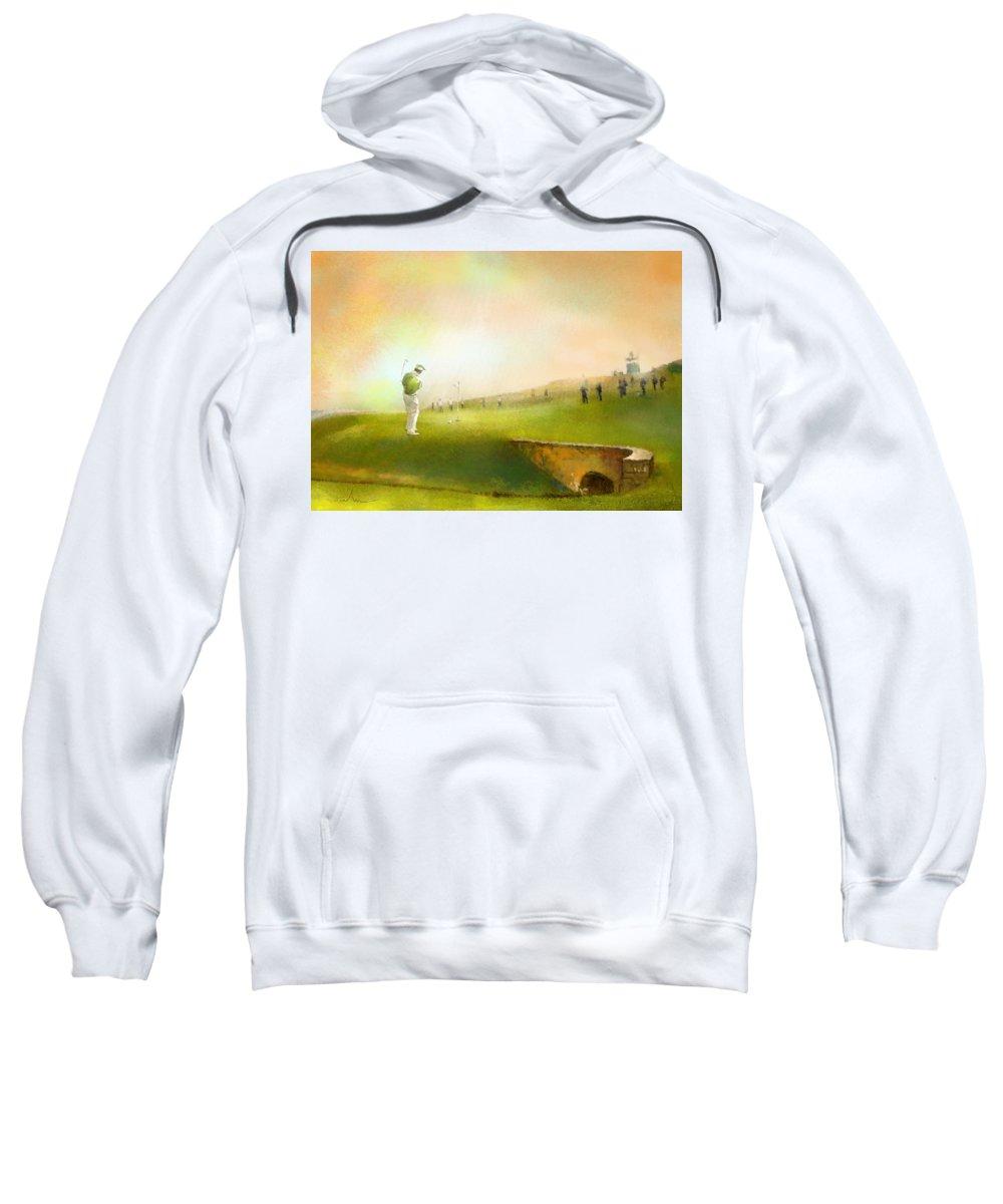 Golf Sweatshirt featuring the painting Golf In Scotland Saint Andrews 02 by Miki De Goodaboom
