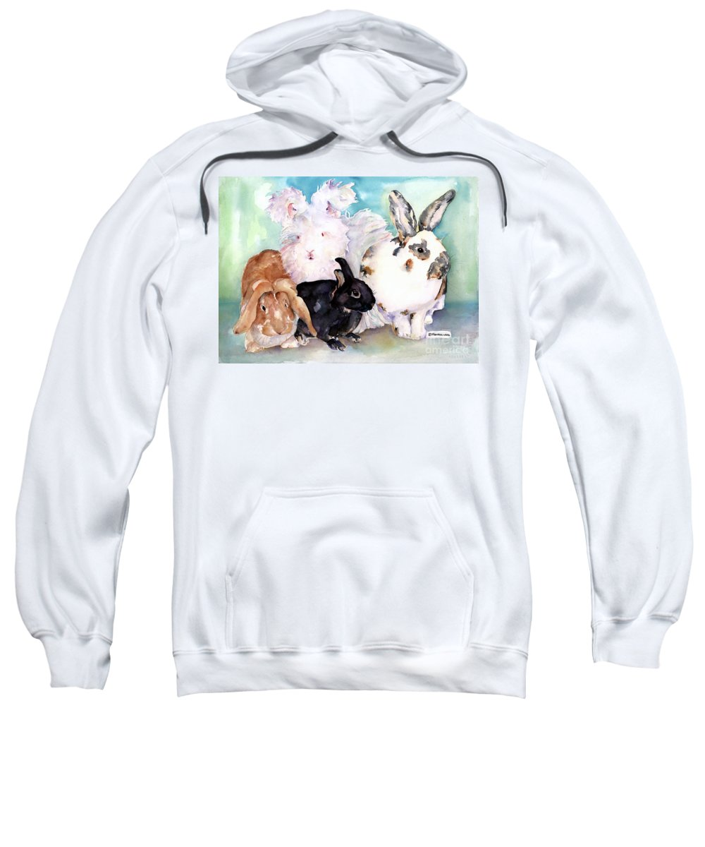 Animal Artwork Sweatshirt featuring the painting Good Hare Day by Pat Saunders-White