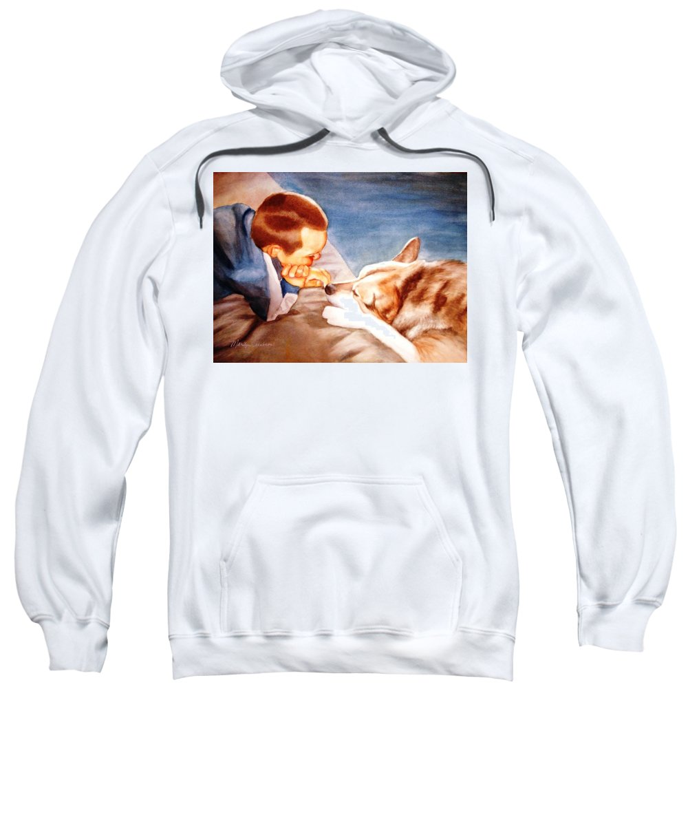 Boy & Dog Sweatshirt featuring the painting Goodbye Misty by Marilyn Jacobson