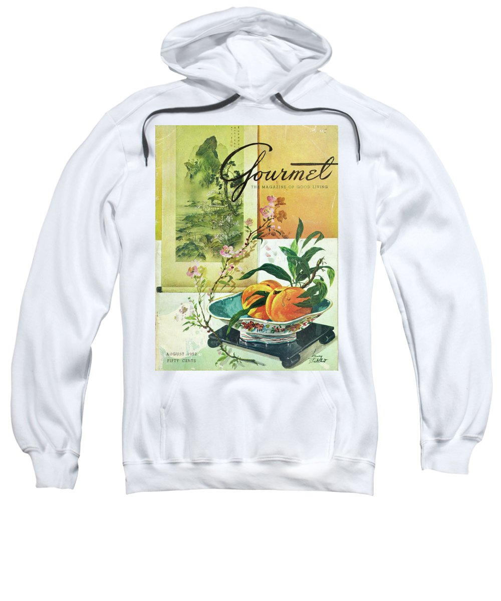 Food Sweatshirt featuring the photograph Gourmet Cover Featuring A Bowl Of Peaches by Henry Stahlhut