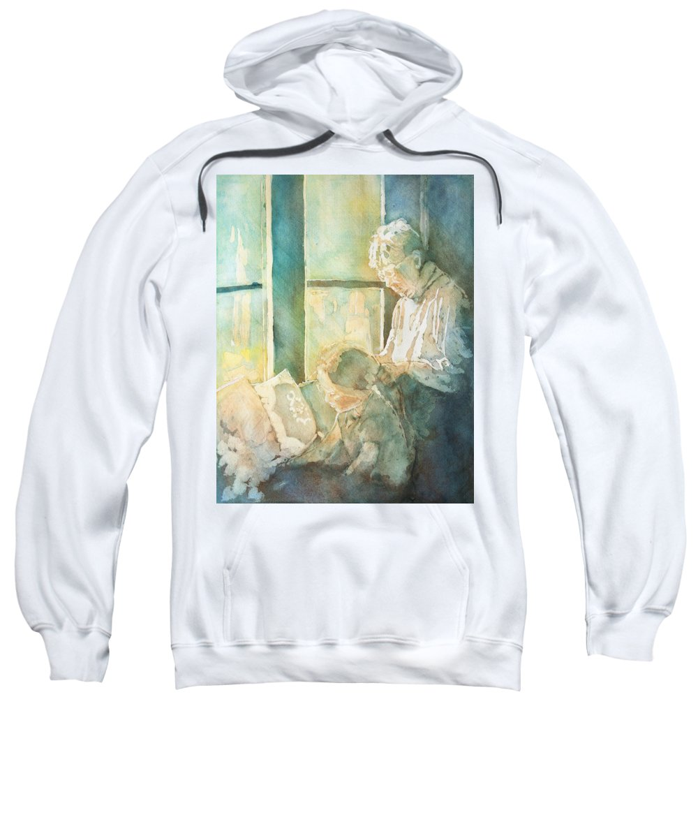 Family Sweatshirt featuring the painting Gramdma Braids by Jenny Armitage