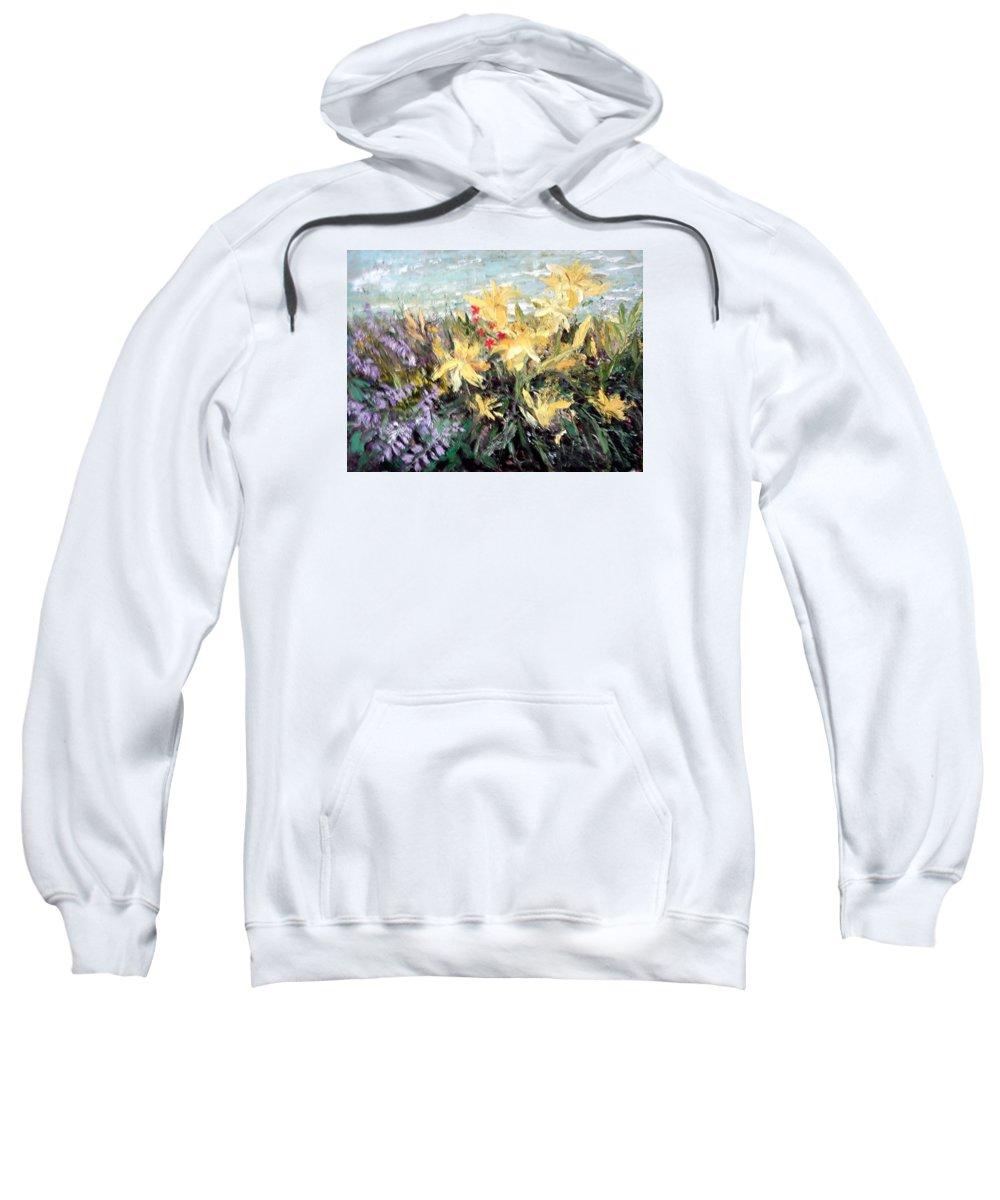 Flowers Sweatshirt featuring the painting Grandma's Garden by Janet Lavida