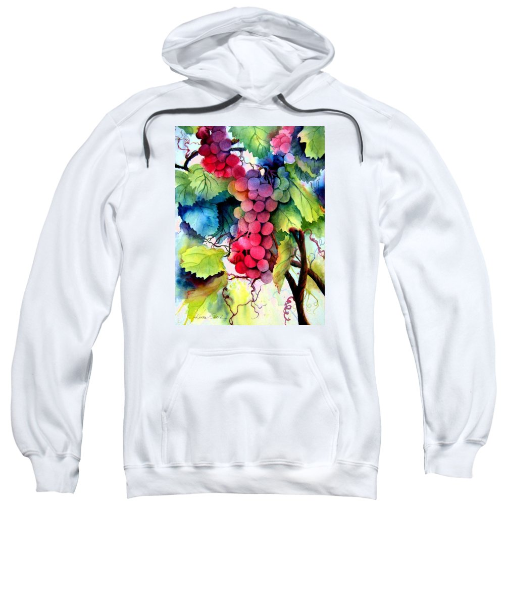 Grapes Sweatshirt featuring the painting Grapes by Karen Stark