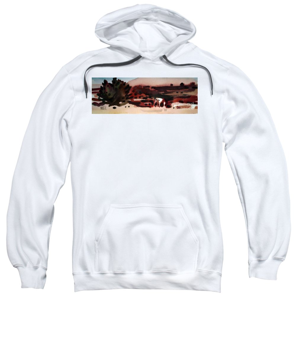Horse Sweatshirt featuring the painting Grazing Pinto by Donald Maier