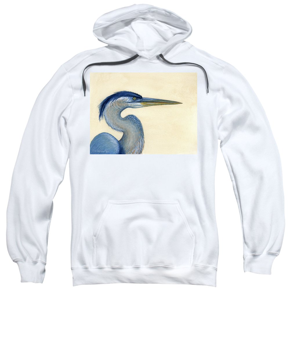 Great Sweatshirt featuring the painting Great Blue Heron Portrait by Charles Harden