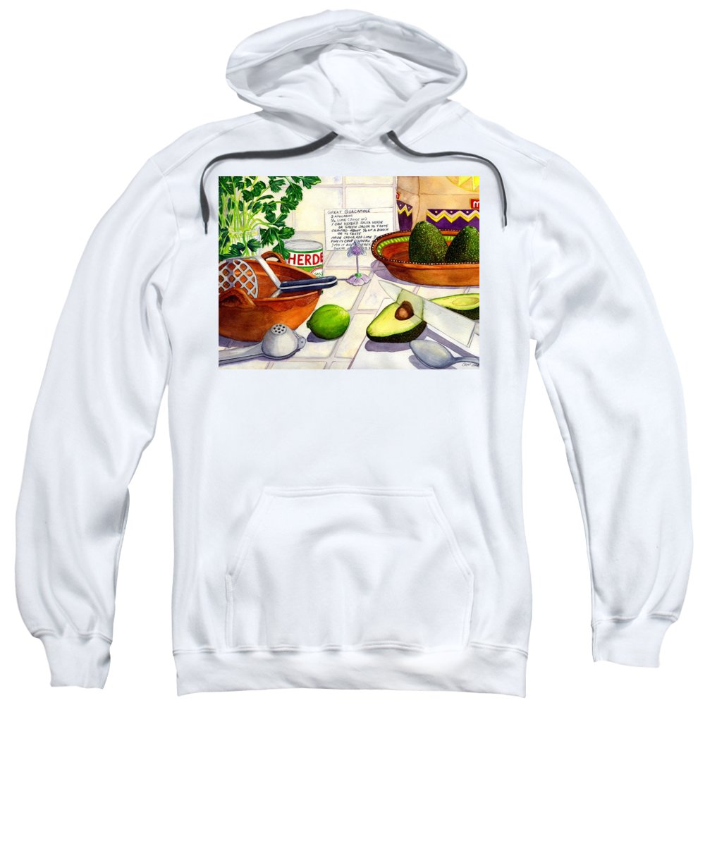 Guacamole Sweatshirt featuring the painting Great Guac. by Catherine G McElroy
